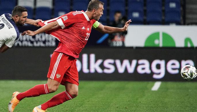 Во время матча 1-го тура Лиги наций УЕФА между сборными России и Сербии, 3 сентября 2020 года