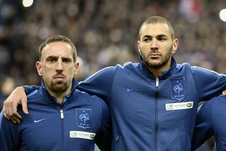 Игроки сборной Франции Франк Рибери и Карим Бензема