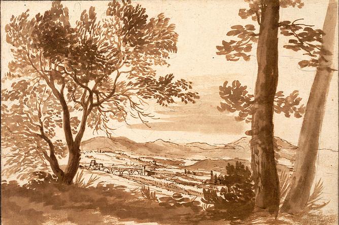 Никола Пуссен. Вид на долину Тибра с мостом Молле. Около 1624 года