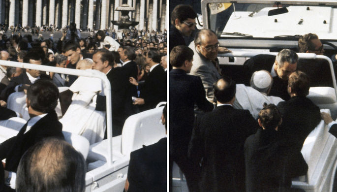 Папа римский Иоанн Павел II, раненый во время покушения, 13 мая 1981 года