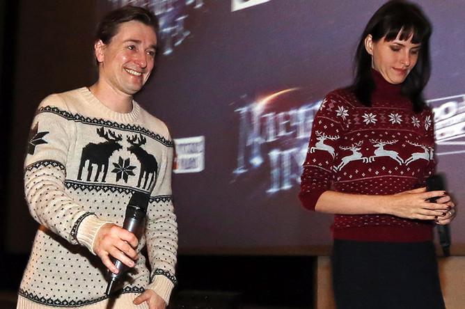 Сергей Безруков и Анна Матисон на премьере своего фильма «Млечный путь» в Санкт-Петербурге, 2015 год