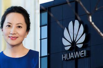 Финансовый директор Huawei Technologies Мэн Ванчжоу и логотип компании на здании офиса в Пекине, коллаж «Газеты.Ru»