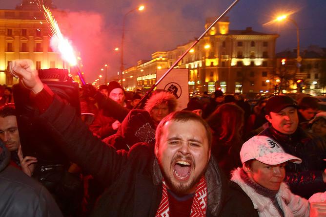 Участники протестной акции в Минске, 17 февраля 2017 года