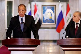 Главы МИД России и Ирака Сергей Лавров и Мухаммад Али аль-Хаким во время встречи в Багдаде, 7 октября 2019 года