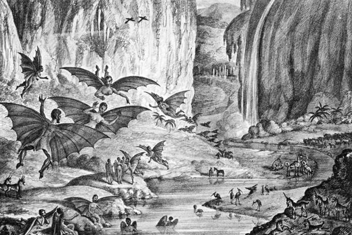 Лунные люди, животные и пейзаж