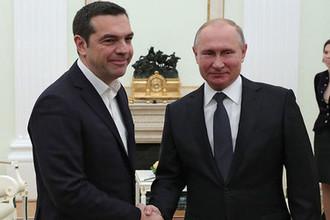 Встреча президента России Владимира Путина с премьер-министром Греции Алексисом Ципрасом в Кремле, 7 декабря 2018 года