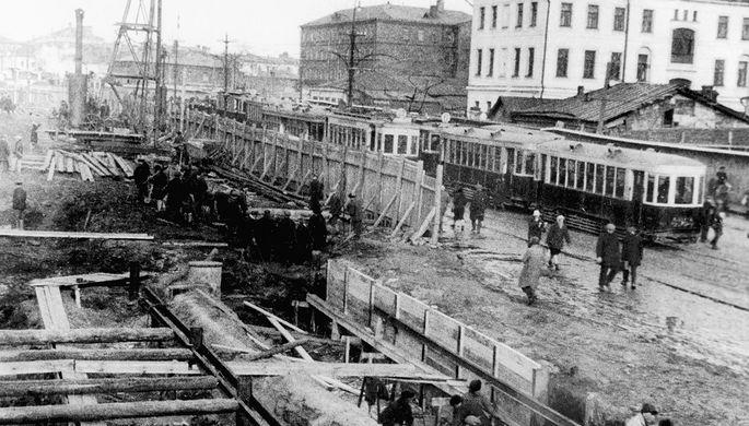Открытое строительство шахты метрополитена в Москве, 1933 год