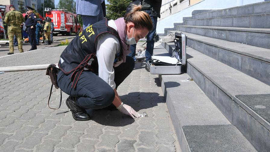 Следственные действия на месте стрельбы в гимназии №175 в Казани, 11 мая 2021 года