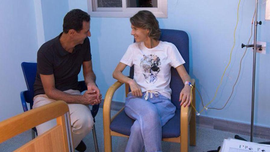 Президента Сирии Башар Асад и его супруга Асма Асад во время прохождения лечения в госпитале, 8 августа 2018 года