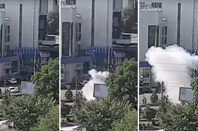 Момент взрыва автомобиля в Киеве, 27 июня 2017 года