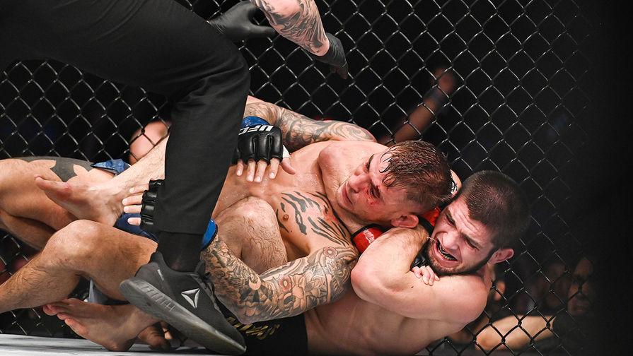 Российский боец Хабиб Нурмагомедов и американец Дастин Порье во время боя на турнире UFC 242 в Абу-Даби