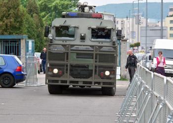 Словацкая полиция привлекла спецтехнику к обеспечению порядка