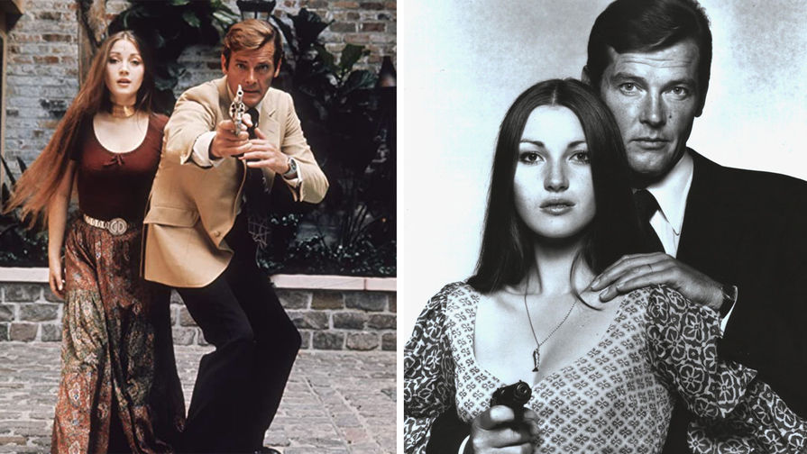 Актриса Джейн Сеймур в роли Солитер и актер Роджер Мур в роли Джеймса Бонда в фильме «Живи и дай умереть» (1973)