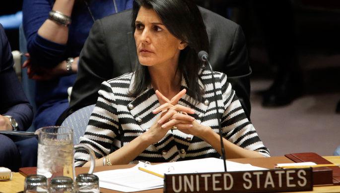 Постпред США в ООН Никки Хейли на встрече Совбеза в Нью-Йорке, февраль 2017 года