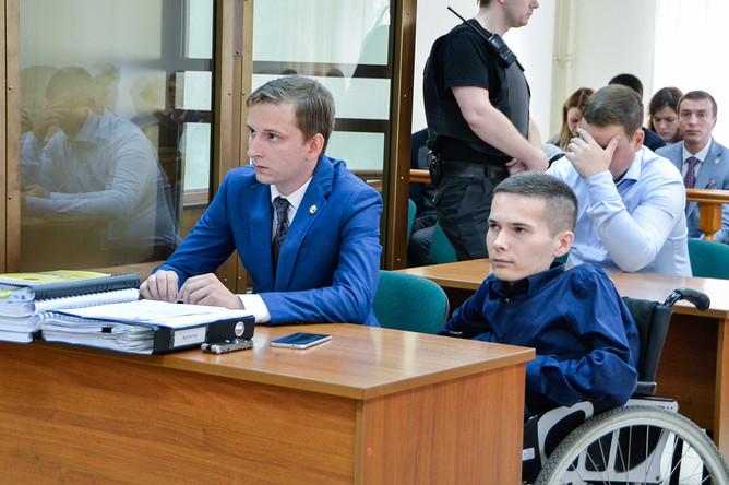 Инвалид-колясочник Антон Мамаев во время слушания по проверке законности приговора в Мосгорсуде, 3 августа 2017 года
