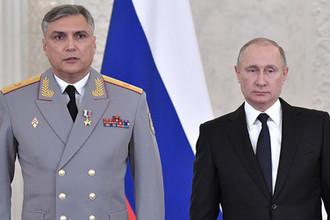 Генерал-майор Александр Матовников и президент России Владимир Путин в Кремле во время вручения госнаград военнослужащим Вооруженных сил, отличившимся в Сирии, декабрь 2017 года