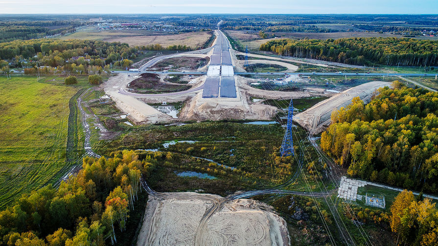 Строящаяся развязка на пересечении центральной кольцевой автомобильной дороги (ЦКАД) и Калужского шоссе, 2018 год