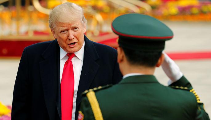 Президент США Дональд Трамп во время визита в Китай, ноябрь 2017 года