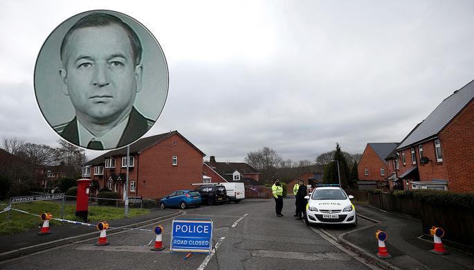 Коллаж: Сергей Скрипаль и полицейское оцепление у дома, где он жил, 11 марта 2018 года