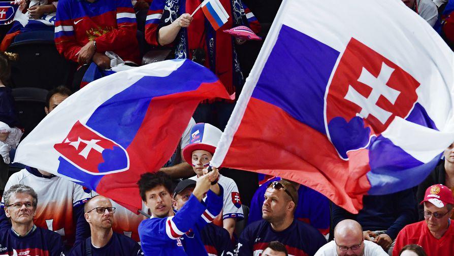 Болельщики сборной Словакии на матче группового этапа чемпионата мира по хоккею между сборными командами России и Словакии.