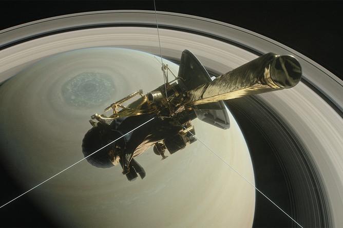 Аппарат Cassini на фоне Сатурна (иллюстрация)