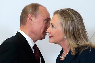 Президент России Владимир Путин и госсекретарь США Хиллари Клинтон на саммите АТЭС во Владивостоке, сентябрь 2012 года