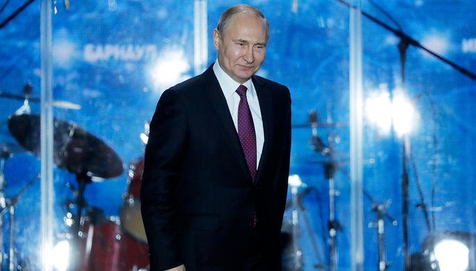 Владимир Путин во время митинга-концерта «Россия. Севастополь. Крым», 14 марта 2018 года