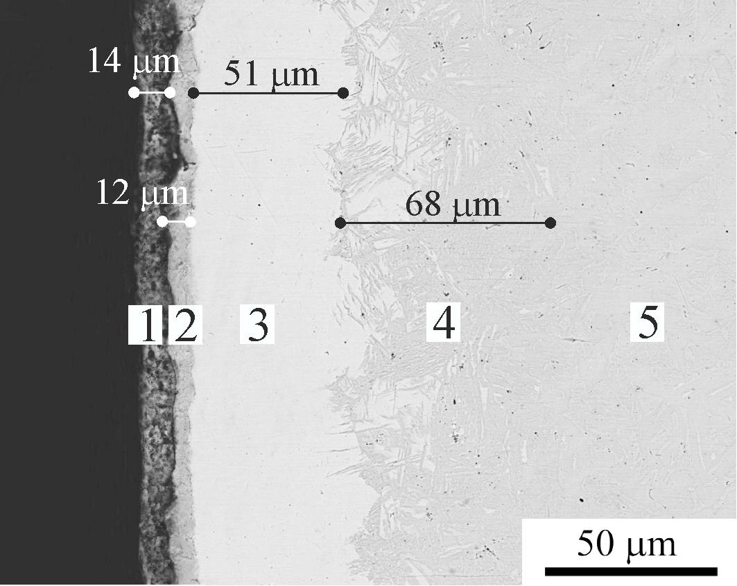 Внутри модифицированного металла. Наружные зоны имеют высокую твердость и хорошее сопротивление изнашиванию при трении. 1- оксидный, 2- нитроцементованный, 3- мартенситный, 4- диффузионный слои