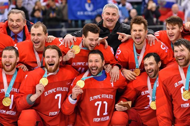 Сборная России по хоккею после финала Олимпиады-2018