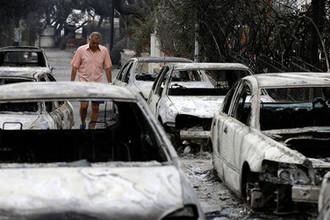Последствия лесных пожаров в Греции, 24 июля 2018 года