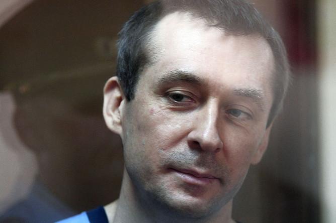Экс-сотрудник антикоррупционного главка МВД РФ (ГУЭБиПК), полковник Дмитрий Захарченко, обвиняемый по делу о взятках и воспрепятствовании правосудию, в Пресненском суде Москвы, 10 июня 2019 года