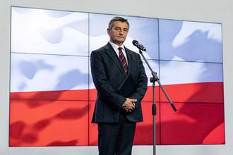 Спикер парламента Польши Марек Кухчиньский во время пресс-конференции в Варшаве, 8 августа 2019 года