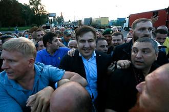 Михаил Саакашвили со сторонниками во время прорыва на территорию Украины, 10 сентября 2017 года