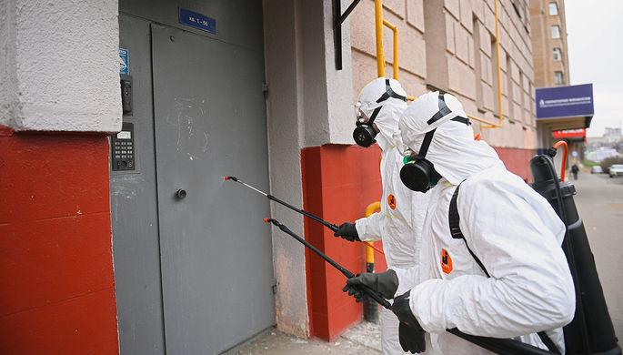 Дезинфекционная обработка жилого дома в Москве, 30 марта 2020 года