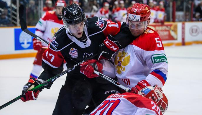 Эпизод матча молодежной сборной России против команды из лиги Квебека в рамках Суперсерии
