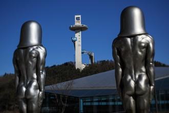 Скульптуры в Олимпийском парке в Пхенчхане