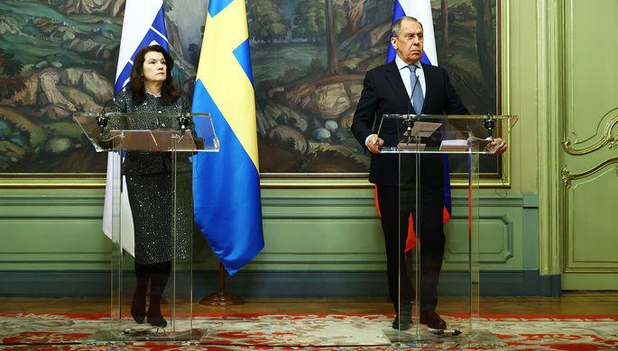 Министр иностранных дел Швеции, председатель ОБСЕ Анн Линде и глава МИД РФ Сергей Лавров во встречи в Москве, 2 февраля 2021 года