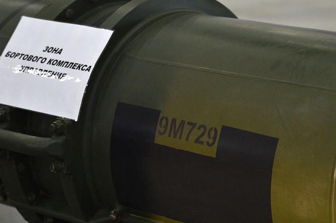 Ракета 9М729 в выставочном павильоне КВЦ «Патриот» в Московской области, 23 января 2019 года