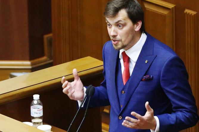 Кандидат на пост премьер-министра Украины Алексей Гончарук на первом заседании девятого созыва Верховной рады Украины в Киеве, 29 августа 2019 года