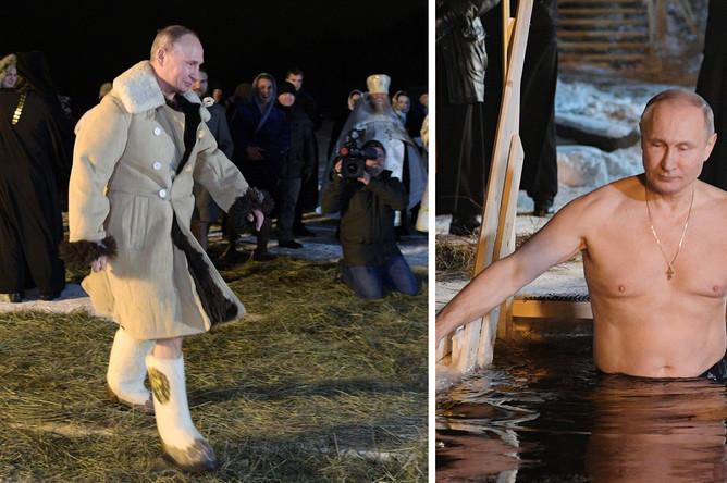 Президент России Владимир Путин во время крещенских купаний в мужском монастыре Нило-Столобенской пустыни на озере Селигер, 19 января 2018 года, коллаж «Газеты.Ru»