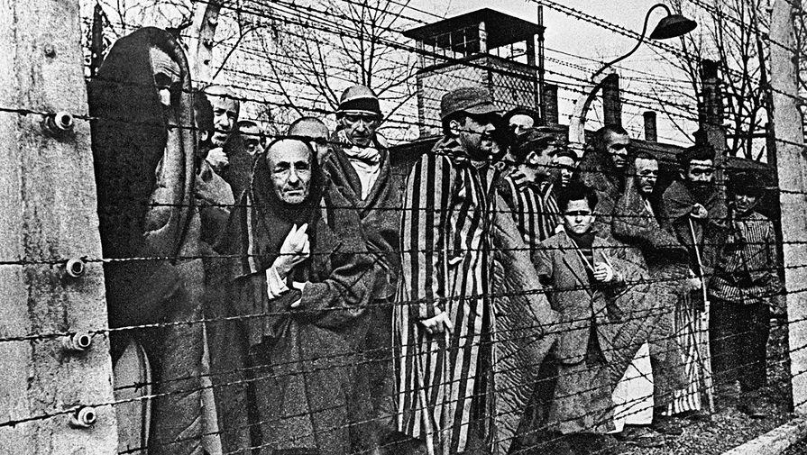 Заключенные концлагеря Освенцим смотрят в объектив из-за колючей проволоки