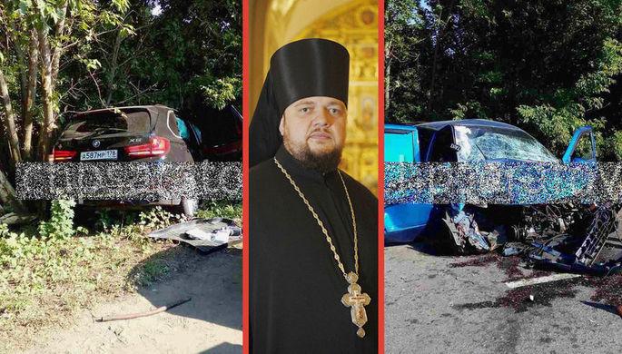 Последствия смертельного ДТП с участием BMW X5 в Саратовской области и настоятель Самсониевского собора архимандрит Серафим (Шкредь), коллаж «Газеты.Ru»