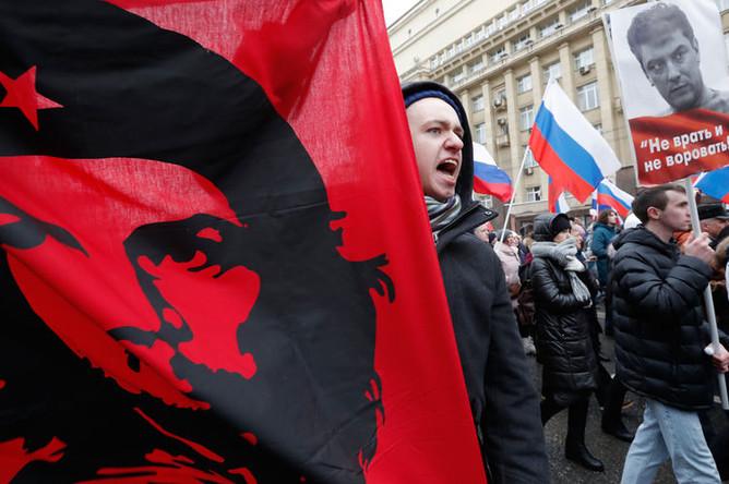 Участники марша памяти Бориса Немцова в Москве, 24 февраля 2019 года