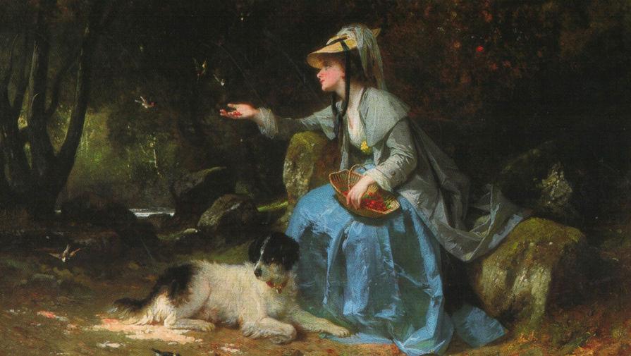 Картина «Женщина с ягодами», Франция, середина XIX века