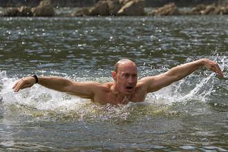 Владимир Путин на отдыхе в Республике Тыва, 2009 год