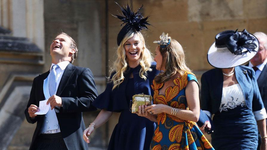 Бывшая девушка принца Гарри Челси Дэви насвадьбе принца Гарри и Меган Маркл вВиндзоре, 19 мая 2018 года