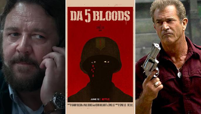 Кадр из «Неистового» с Расселом Кроу, плакат к «Пятеро одной крови» и «Сила природы» с Мелом Гибсоном (коллаж)