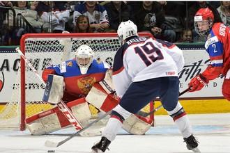 Клэйтон Келлер забрасывает решающую шайбу в ворота сборной России