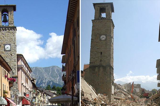 Улица небольшого города Аматриче до и после землетрясения