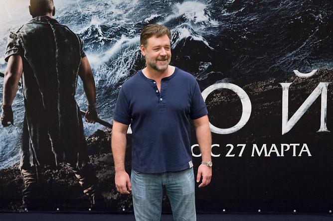 Рассел Кроу на презентации фильма «Ной» в Москве, 2014 год